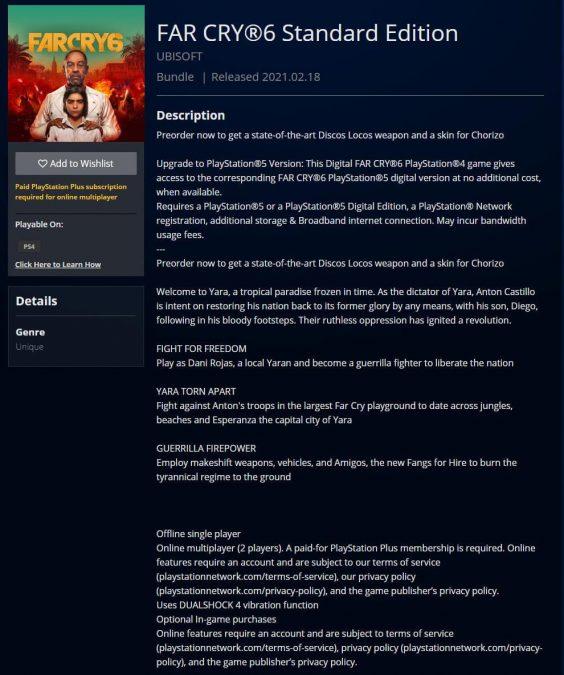 Far Cry 6 PlayStation Store'da Listelendi
